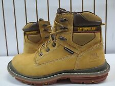 Mens Tan Caterpillar Work Boot Waterproof Composite Toe Size 12 Wide #90450