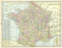 1887 Antique FRANCE Map Vintage Crams Map of France Gallery Wall Art 7704