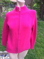 Lord & Taylor 100% 2 Ply Cashmere Dark Pink Sweater Jacket Cardigan sz.M