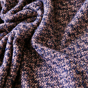 Boucle Jersey - Wool blend - Abstract pattern - Purple, Camel brown