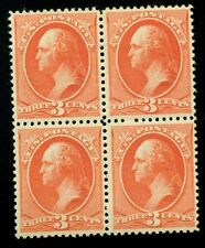 US #214 3¢ vermillion, Block of 4, og, NH, XF PF certificate