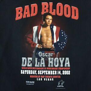 Vintage Boxing T Shirt Bad Blood Oscar De La Hoya 2002 Size Large Black