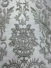 Silver Hollywood Damask 2 Way Stretch Modern Lace Fabric Sold By The Yard