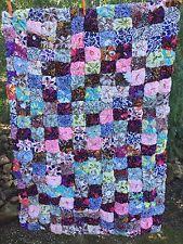 Antique vintage old 1940s fabrics patchwork YOYO quilt bed cover handmade yo yo