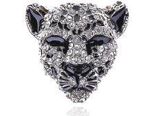 Fashion Fierce Head Face Silver Crystal Rhinestone Adjustable Ring Unique Jewel