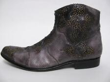 TRUE RELIGION ITALY GREY SNAKE PRINT LEATHER STUDDED WESTERN ANKLE BOOTS SHOE~12