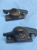 2 EAGLE CLAW  WINDOW SASH LOCK with BRASS LEVER AS FOUND NO CATCH