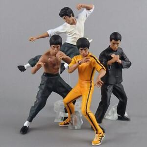4pcs/set King of Kung Fu Bruce Lee Mini Action Figure Model Toy No Box