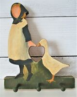 Vintage Girl with Duck Wall Hook Hanging Goose Wooden 3 Peg Decor Hand Painted ?