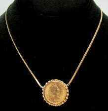 BEAUTIFUL BRITISH 22K GOLD 1965 SOVEREIGN COIN IN 14K GOLD NECKLACE