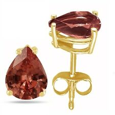 7x5 Pear Shape Garnet Earrings in 14k Yellow Gold
