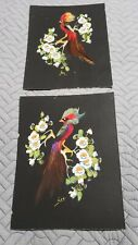 Pair Vintage Feather Bird Pictures - Mexican - Hand Painted -  Unframed 9 x 7