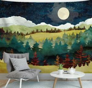 """HUGE Nature Tapestry Night Moon Forest Trees 90"""" x 60"""" Decorative Wall Hanging"""