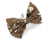 Brown Heart Fabric Bow Barrette Hair Clip Slide Hair Accessories UK