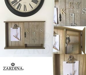 Vintage Wall Mounted Wooden Key Storage Cabinet Box with Memo Writing Pad