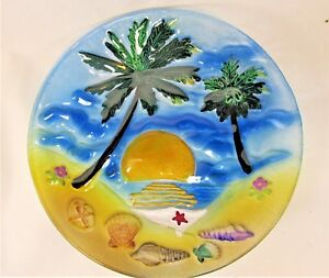 Palm Trees on Beach Art Glass plate hand painted Tropical Home decor