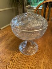 EAPG Indiana Glass Rayed Flower Covered Compote