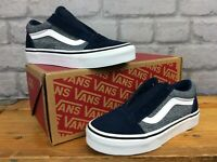 VANS UK 13 EU 31 OLD SKOOL NAVY BLUE WHITE TRAINERS SUEDE CANVAS CHILDRENS LD