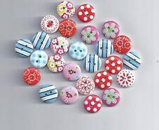 10 piezas botón circular de mezcla aleatoria Botones Madera Pintura Artesanía (66)