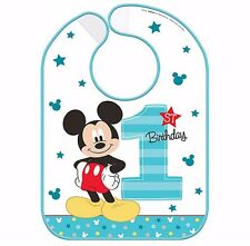 Disney Mickey Mouse First Birthday Vinyl Bib baby Boy1st Birthday Party Supplies