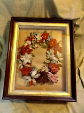 Antique 19th C Framed Shadowbox Wool Mourning Wreath Deep Well Victorian Frame