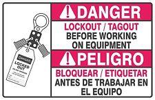 Set of 8 Lockout Tagout Warning Decal Bilingual English & Spanish 6x4