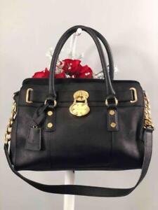 EMMA FOX Cambridge Black Leather Front Lock Satchel Bag
