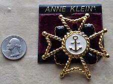New Original Card Old Stock ANNE KLEIN Goldtone Enamel CROSS Shape Pin Brooch