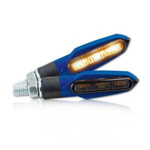 LED Mini Blinker Slight für Motorrad schwarz blau blue LED signals smoked lens