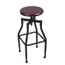 Industrial Bar Stool Swivel Metal Wood Seat Top Height Adjustable Barstool W