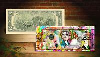 VINTAGE CARTOONS Popeye Gumby Felix Cat Genuine Tender $2 Bill SIGNED by Rency