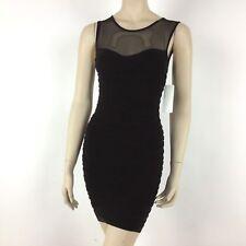 New Shine Womens Bodycon Mini Dress Size S-M Stretch Sleeveless Brown with Mesh
