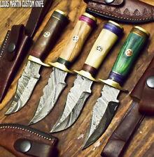 LOUIS MARTIN CUSTOM HANDMADE DAMASCUS ART A LOT OF 4 SKINNER KNIFE HARD WOOD