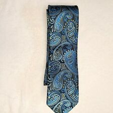 Paul Malone Silk Tie Blue Paisley Excellent preowned conditon no flaws