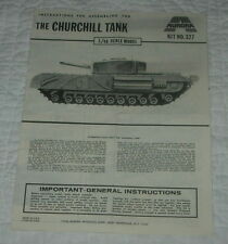 AURORA  THE CHURCHILL TANK  MODEL KIT INSTRUCTIONS ONLY  1969  327