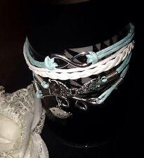 WOMEN'S Beauty Bird Leaf Braid Infinity Charm Silver Toned Alloy Bracelet Hot