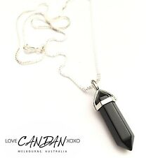 Black Onyx Pendant Chakra Rock Crystal Necklace Bohemian Hippie Gypsy Style