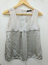 Reiss Silk Blend Taupe Cream Sleeveless Summer Top Blouse Uk 6