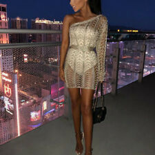 Sexy Women Summer One Shoulder Hollow Out Knitted Bodycon Clubwear Mini Dress