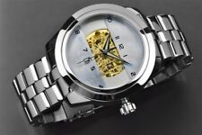 ARAGON Mens Automatic 23 jewel Skeleton   Platinum White Mother-of-Pearl Dial