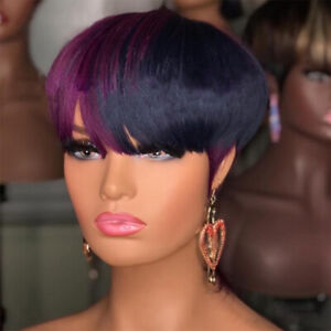 Women Short Straight Synthetic Pixie Cut Wig Black Purple Wigs for Fashion Party