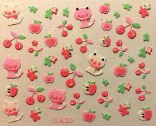 Nail Art 3D Decal Stickers Cat Kitten Apples Cherries GA30