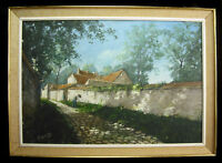 F Bordier 1951 Hst Mounted Choisy-Le-Roi Gardening and Rue Paved under the Sun