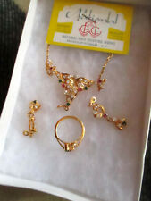 True Vtg Rhinestone EARRINGS SIZE 6 RING AND NECKLACE GOLD PLATED SET NEW IN BOX
