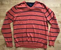 Vintage Tommy Hilfiger Orange Black Striped V-Neck Jumper Sweater M Cotton Retro