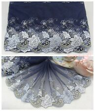 """7.5""""*1Y Embroidered Tulle Lace Trim~Deep Blue+White+Light Blue~Rose Duchess~"""