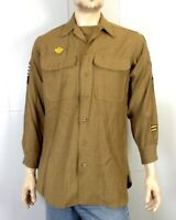 vtg 40s 1940s WWII US Army Wool Uniform Shirt w/ Patches 1943 QMC Tag sz M 15-32