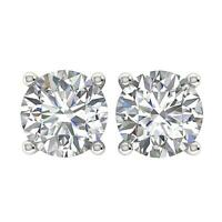 SI1 Solitaire Studs Earrings 1.01Ct Natural Diamond 14K White Yellow Rose Gold