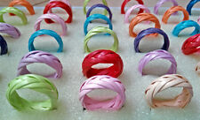 Free Shipping Lots 100PCS Wholesale Mixed Canework Colorful Rings Bulk Jewelry