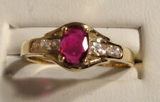 NEW Ruby Gold Ring w White Sapphires 14k YG Size 6.25